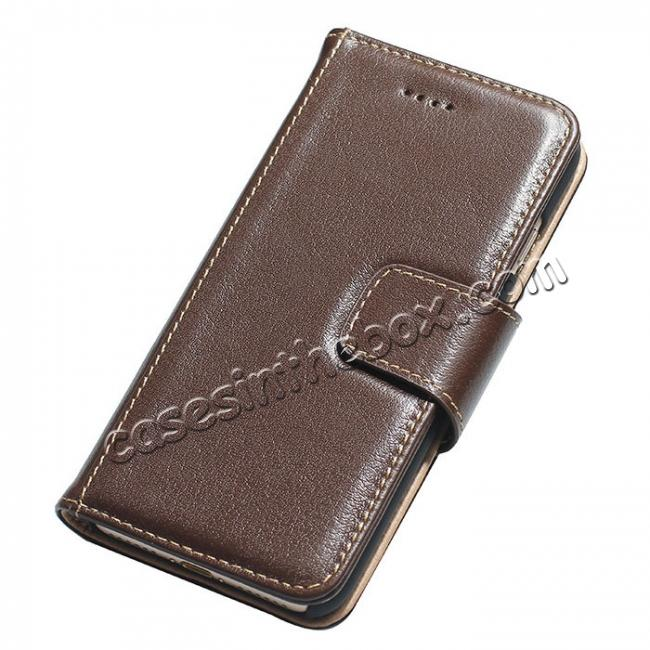 wholesale Luxury Real Genuine Cowhide Leather Stand Wallet Case for iPhone 7 4.7 inch - Coffee