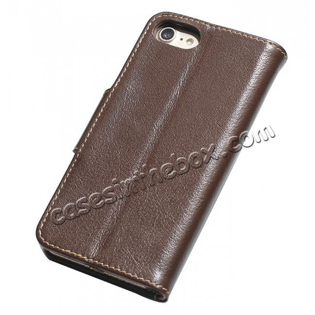discount Luxury Real Genuine Cowhide Leather Stand Wallet Case for iPhone 7 4.7 inch - Coffee