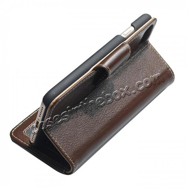 top quality Luxury Real Genuine Cowhide Leather Stand Wallet Case for iPhone 7 4.7 inch - Coffee