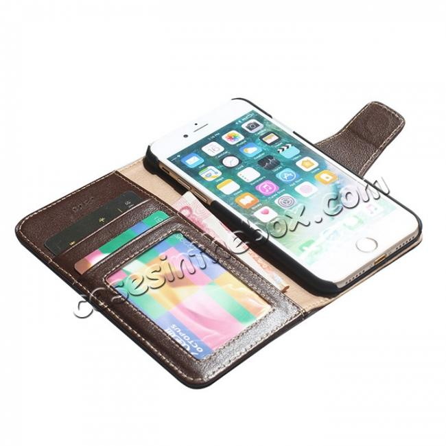 on sale Luxury Real Genuine Cowhide Leather Stand Wallet Case for iPhone 7 4.7 inch - Coffee