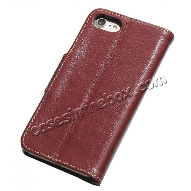 discount Luxury Real Genuine Cowhide Leather Stand Wallet Case for iPhone 7 4.7 inch - Wine Red