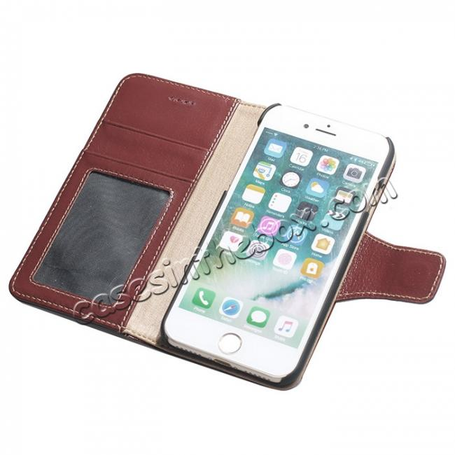 cheap Luxury Real Genuine Cowhide Leather Stand Wallet Case for iPhone 7 4.7 inch - Wine Red