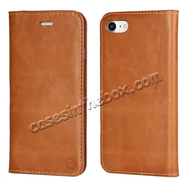 wholesale Luxury Top Layer Cowhide Genuine Leather Wallet Case for iPhone 7 4.7 inch - Brown