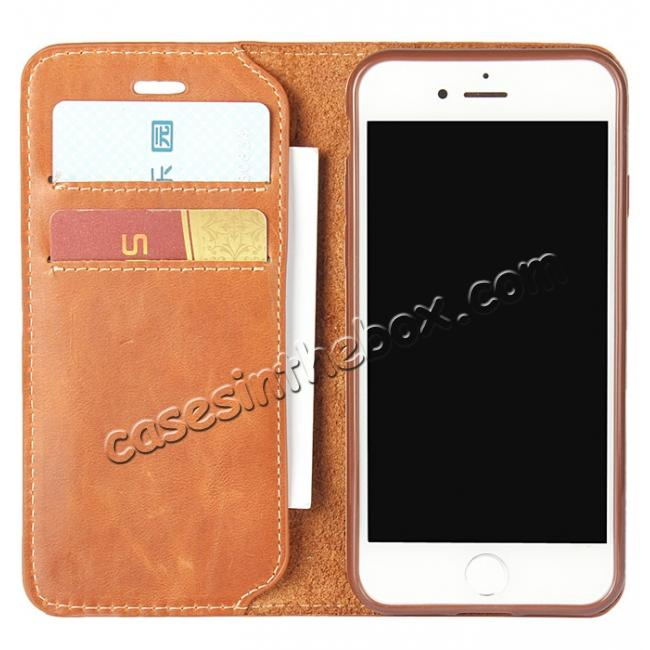 discount Luxury Top Layer Cowhide Genuine Leather Wallet Case for iPhone 7 4.7 inch - Brown