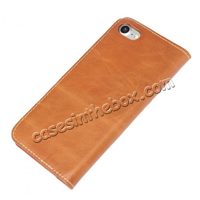 top quality Luxury Top Layer Cowhide Genuine Leather Wallet Case for iPhone 7 4.7 inch - Brown