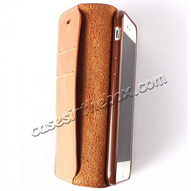 best price Luxury Top Layer Cowhide Genuine Leather Wallet Case for iPhone 7 4.7 inch - Brown