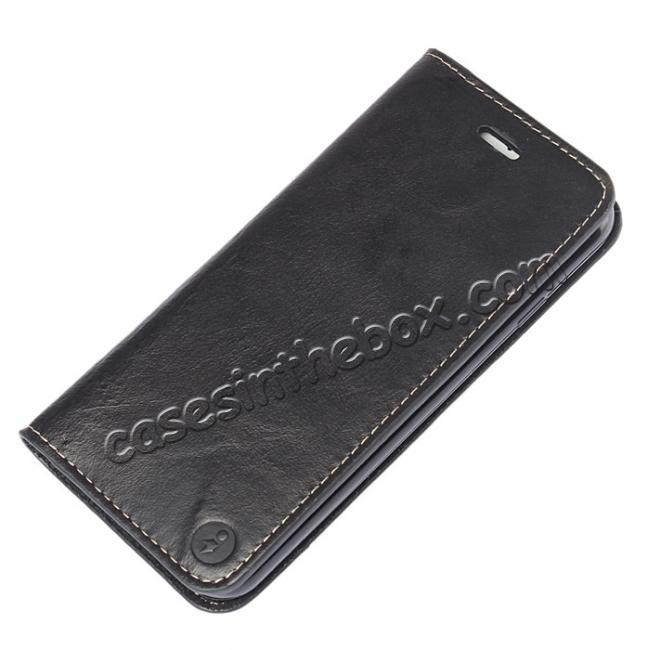 top quality Luxury Top Layer Cowhide Genuine Leather Wallet Case for iPhone 7 Plus 5.5 inch - Black