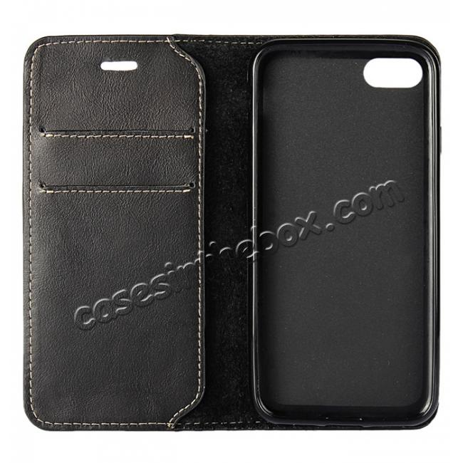 cheap Luxury Top Layer Cowhide Genuine Leather Wallet Case for iPhone 7 Plus 5.5 inch - Black