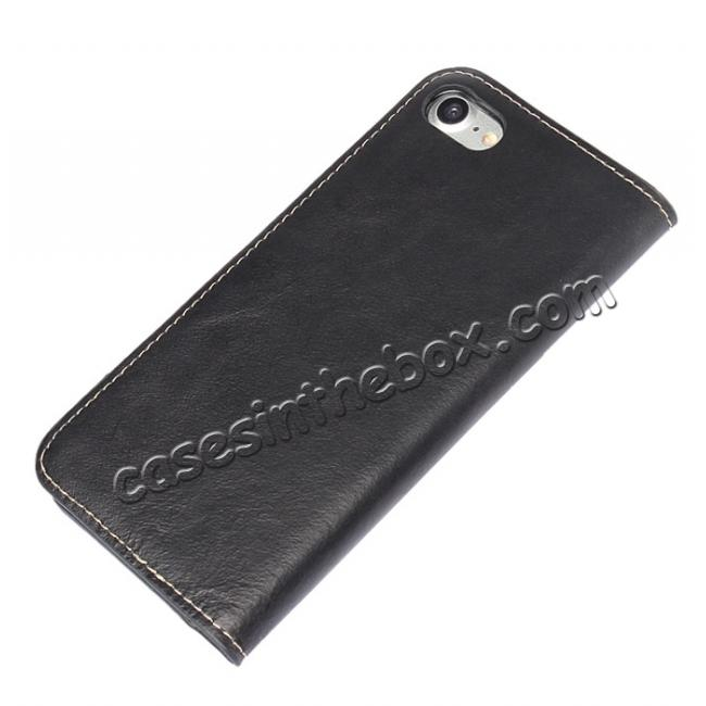 best price Luxury Top Layer Cowhide Genuine Leather Wallet Case for iPhone 7 Plus 5.5 inch - Black