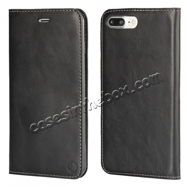 wholesale Luxury Top Layer Cowhide Genuine Leather Wallet Case for iPhone 7 Plus 5.5 inch - Black