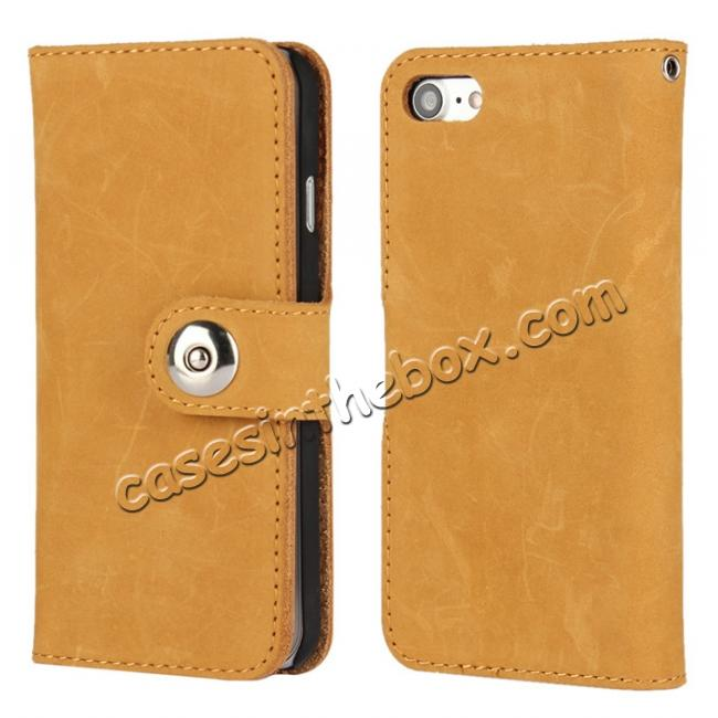 wholesale Matte First Layer Cowhide Genuine Leather Wallet Case for iPhone 7 4.7 inch - Brown