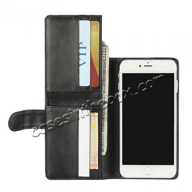 top quality Multifunction Wallet Card Slots Stand Leather Flip Case for iPhone 7 Plus 5.5 inch - Black