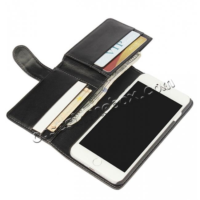 best price Multifunction Wallet Card Slots Stand Leather Flip Case for iPhone 7 Plus 5.5 inch - Black