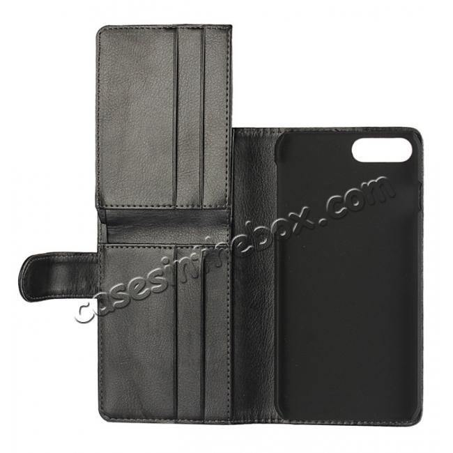 on sale Multifunction Wallet Card Slots Stand Leather Flip Case for iPhone 7 Plus 5.5 inch - Black