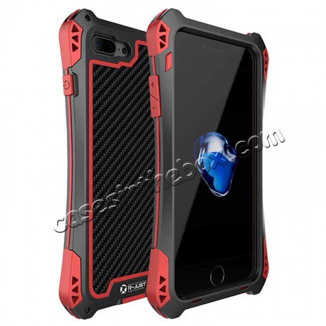 wholesale R-JUST Gorilla Glass Shockproof Metal Case Carbon Fiber Cover for iPhone 7 4.7inch - Black&Red