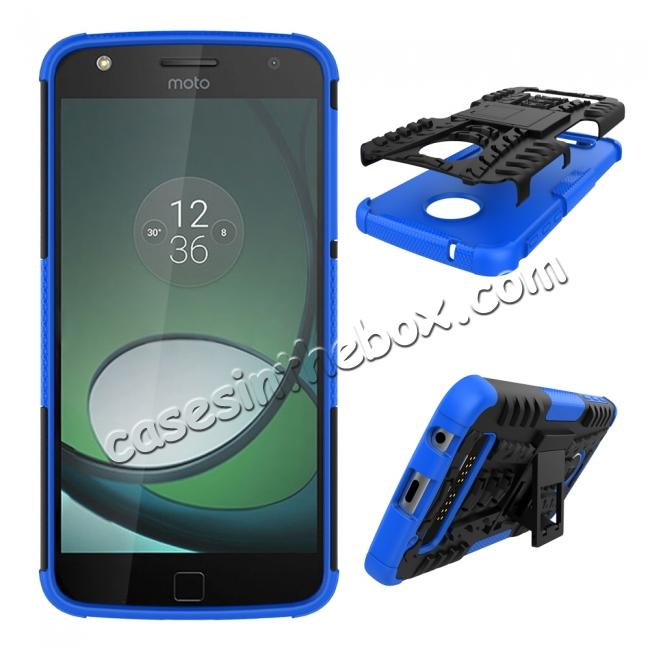 discount Silm Armor Kickstand Protective Cover Case For Motorola Moto Z Play/ Moto Z Play Droid - Blue