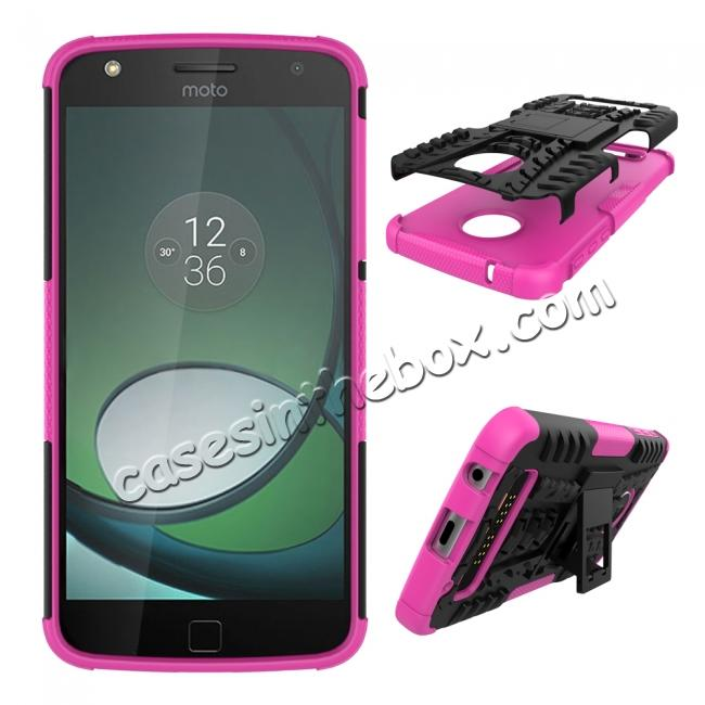 discount Silm Armor Kickstand Protective Cover Case For Motorola Moto Z Play/ Moto Z Play Droid - Hot pink