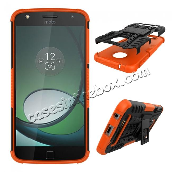 discount Silm Armor Kickstand Protective Cover Case For Motorola Moto Z Play/ Moto Z Play Droid - Orange