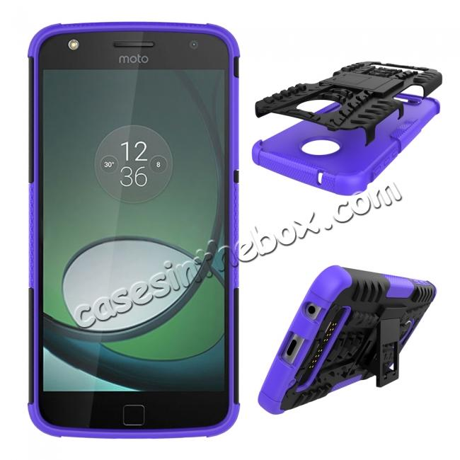 discount Silm Armor Kickstand Protective Cover Case For Motorola Moto Z Play/ Moto Z Play Droid - Purple