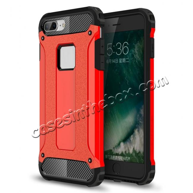 wholesale Dustproof Dual-layer Hybrid Armor Protective Case For Apple iPhone 7 Plus 5.5inch - Red