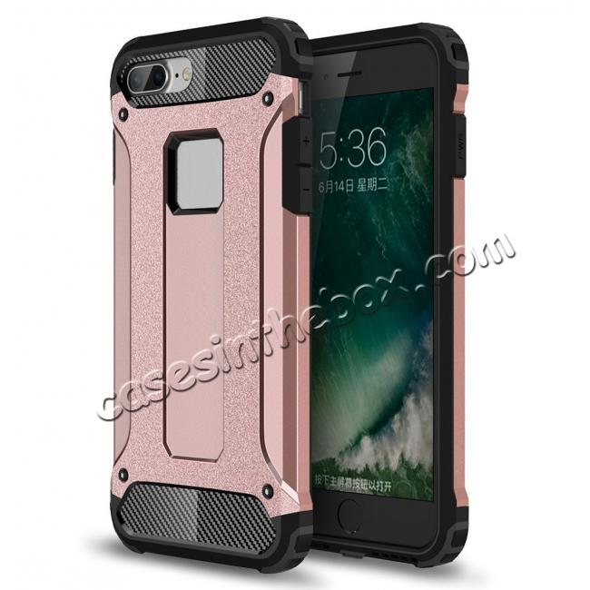 wholesale Dustproof Dual-layer Hybrid Armor Protective Case For Apple iPhone 7 Plus 5.5inch - Rose gold