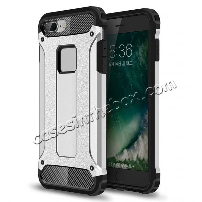 wholesale Dustproof Dual-layer Hybrid Armor Protective Case For Apple iPhone 7 Plus 5.5inch - Silver