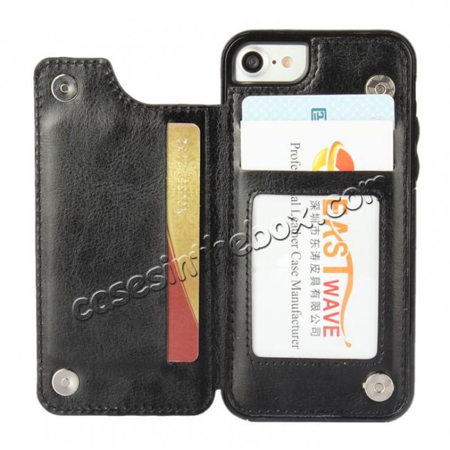 discount Fashion TPU Leather Credit Card ID Holder Wallet Case Cover for iPhone 7 4.7 inch - Black