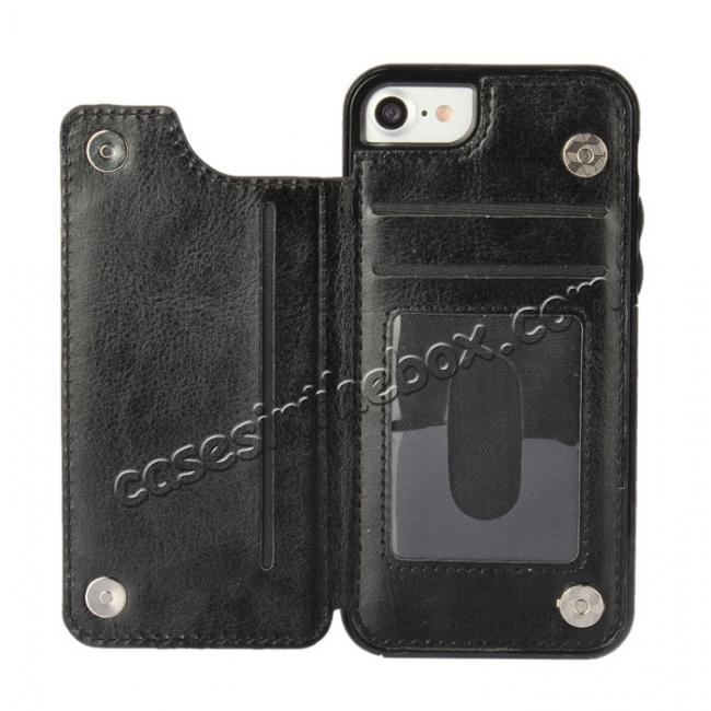cheap Fashion TPU Leather Credit Card ID Holder Wallet Case Cover for iPhone 7 4.7 inch - Black