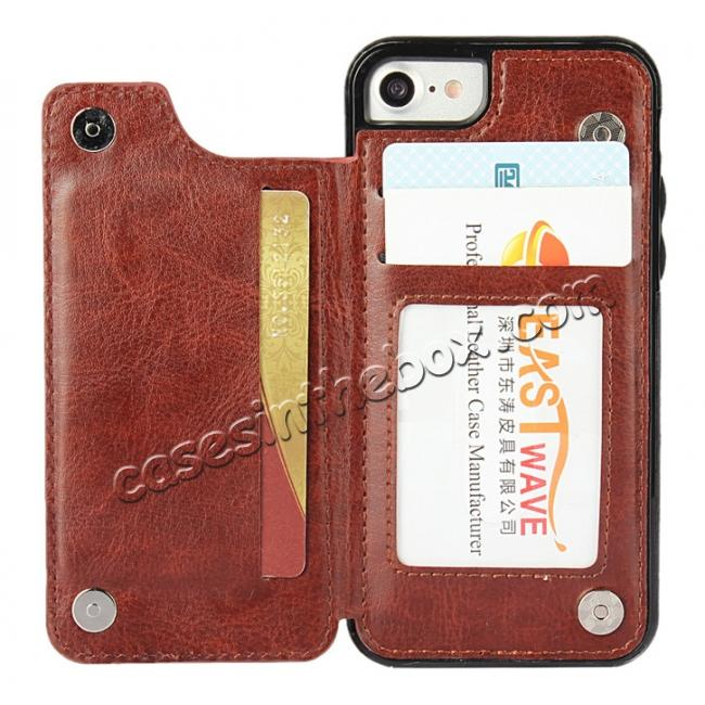 discount Fashion TPU Leather Credit Card ID Holder Wallet Case Cover for iPhone 7 4.7 inch - Brown