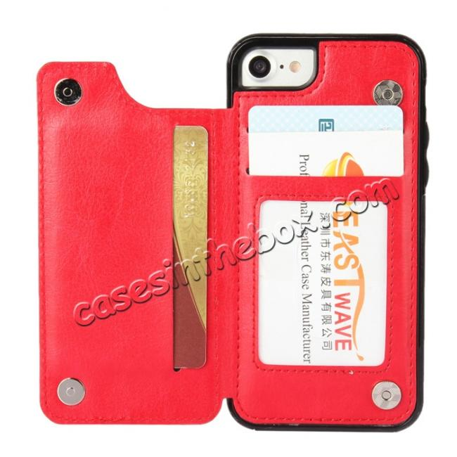 discount Fashion TPU Leather Credit Card ID Holder Wallet Case Cover for iPhone 7 4.7 inch - Red
