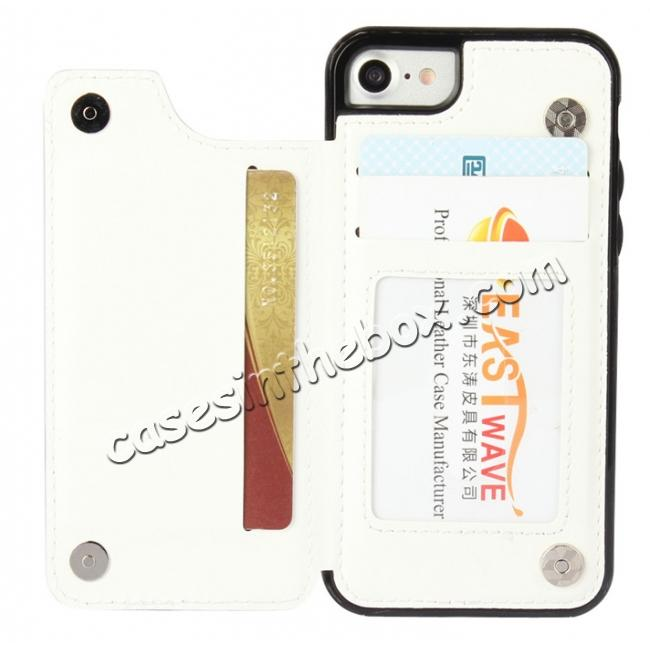 discount Fashion TPU Leather Credit Card ID Holder Wallet Case Cover for iPhone 7 4.7 inch - White