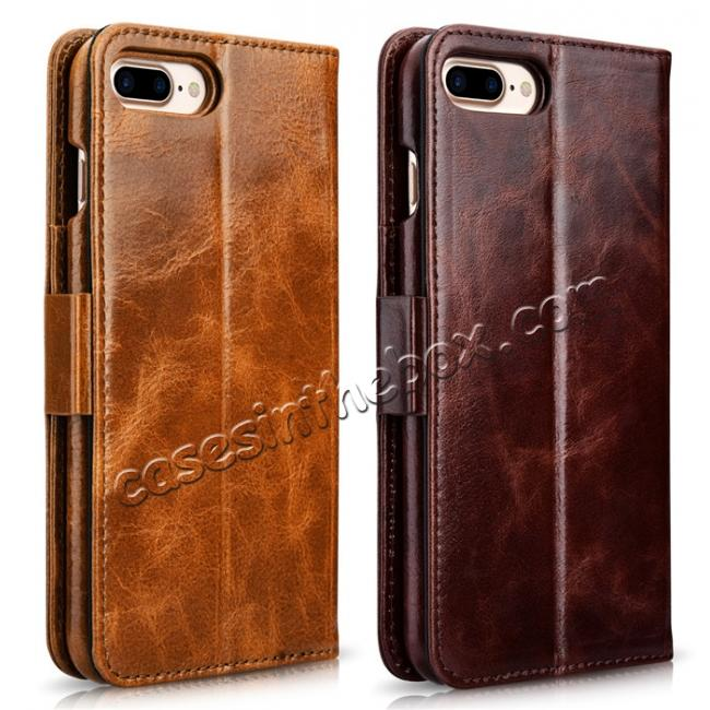 high quanlity ICARER Genuine Oil Wax Leather 2in1 Flip Case + Back Cover For iPhone 7 Plus 5.5 inch - Coffee