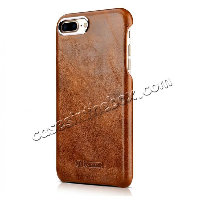 best price ICARER Metal Warrior Oil Wax Real Leather Back Case Cover for iPhone 7 Plus 5.5 inch - Brown