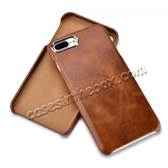 low price ICARER Metal Warrior Oil Wax Real Leather Back Case Cover for iPhone 7 Plus 5.5 inch - Brown
