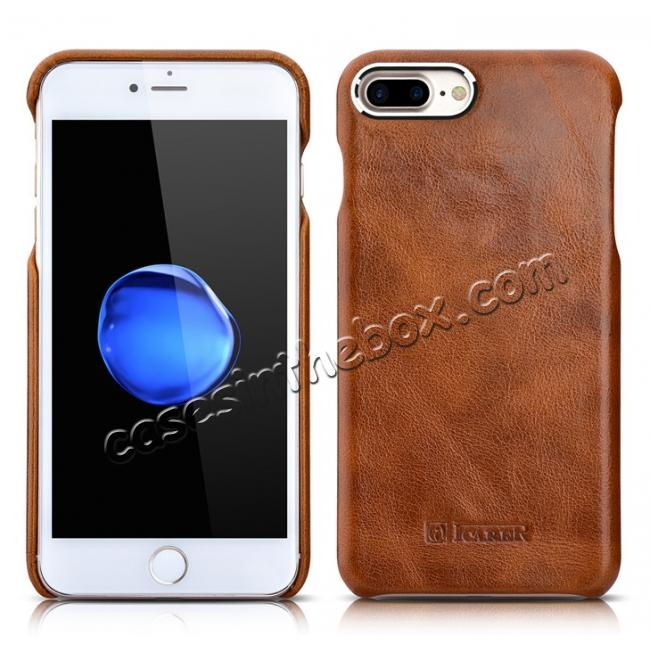discount ICARER Metal Warrior Oil Wax Real Leather Back Case Cover for iPhone 7 Plus 5.5 inch - Brown