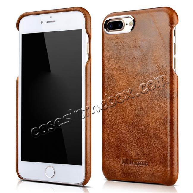 wholesale ICARER Metal Warrior Oil Wax Real Leather Back Case Cover for iPhone 7 Plus 5.5 inch - Brown