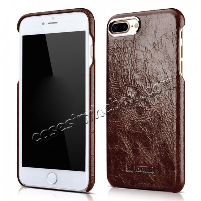 wholesale ICARER Metal Warrior Oil Wax Real Leather Back Case Cover for iPhone 7 Plus 5.5 inch - Coffee