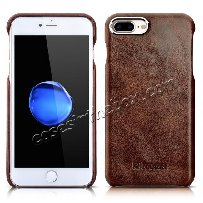 discount ICARER Metal Warrior Oil Wax Real Leather Back Case Cover for iPhone 7 Plus 5.5 inch - Coffee