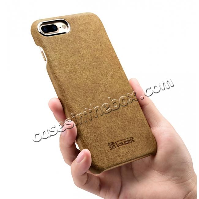top quality ICARER Metal Warrior Shenzhou Real Leather Back Case Cover for iPhone 7 Plus 5.5 inch - Khaki