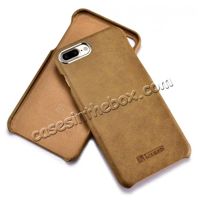 low price ICARER Metal Warrior Shenzhou Real Leather Back Case Cover for iPhone 7 Plus 5.5 inch - Khaki