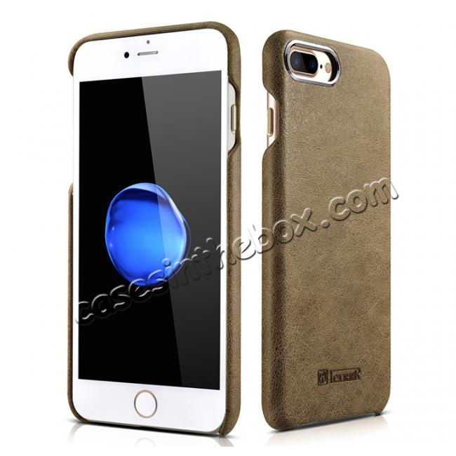 wholesale ICARER Metal Warrior Shenzhou Real Leather Back Case Cover for iPhone 7 Plus 5.5 inch - Khaki