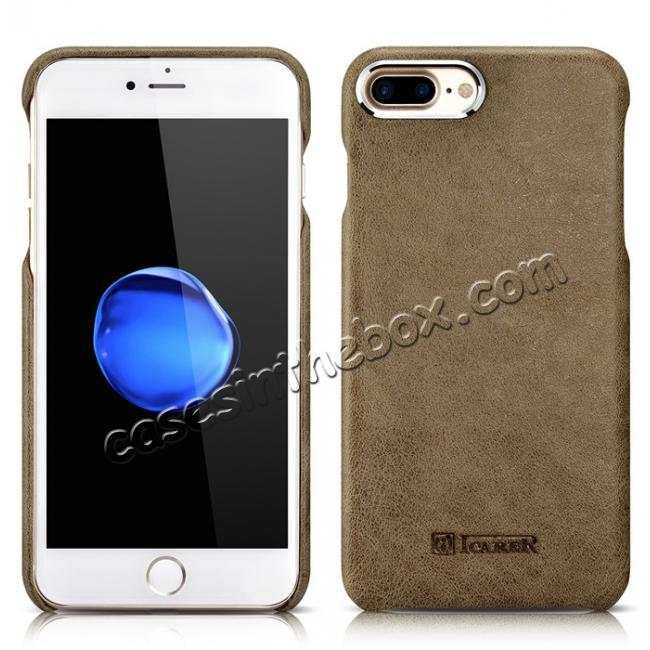 discount ICARER Metal Warrior Shenzhou Real Leather Back Case Cover for iPhone 7 Plus 5.5 inch - Khaki