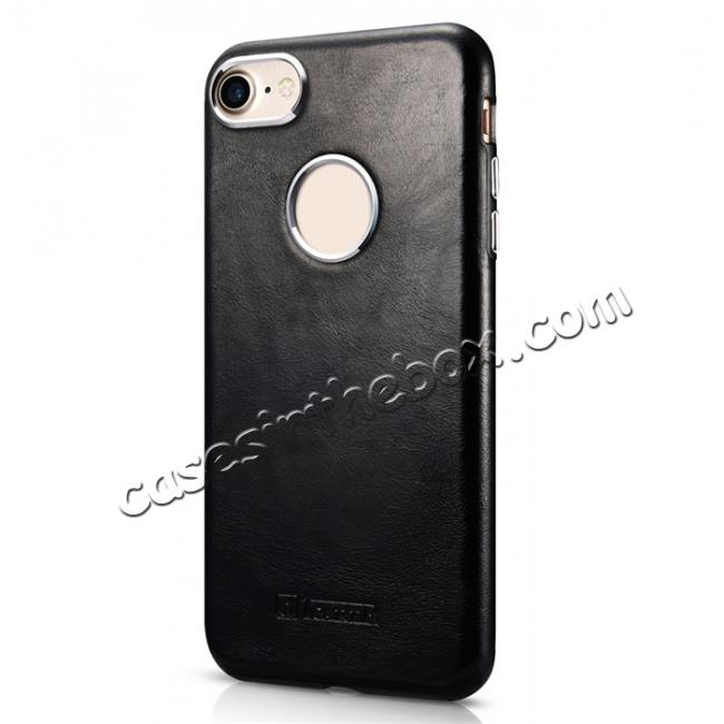 discount ICARER Vintage Genuine Leather Back Case Cover for iPhone 7 4.7 inch - Black