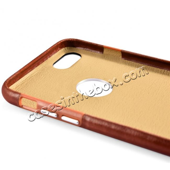 best price ICARER Vintage Genuine Leather Back Case Cover for iPhone 7 4.7 inch - Brown