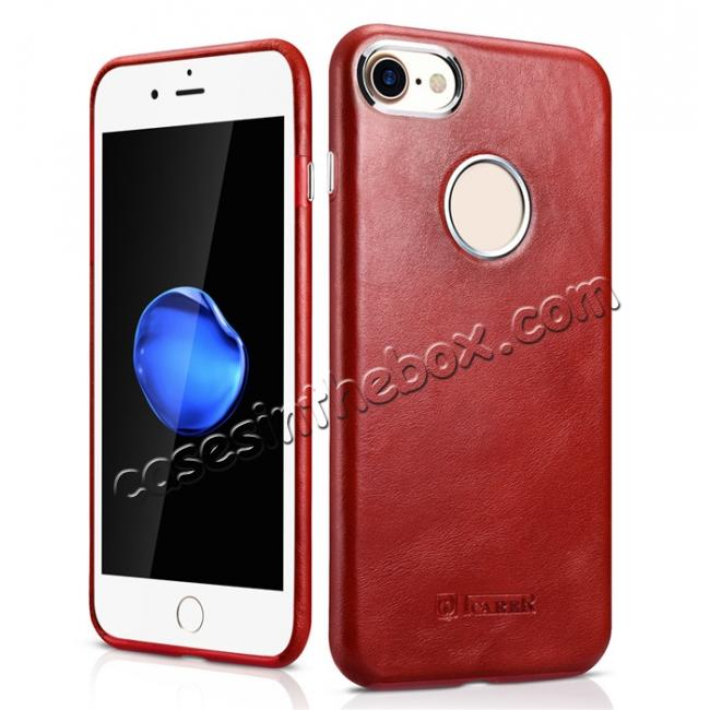 wholesale ICARER Vintage Genuine Leather Back Case Cover for iPhone 7 4.7 inch - Red