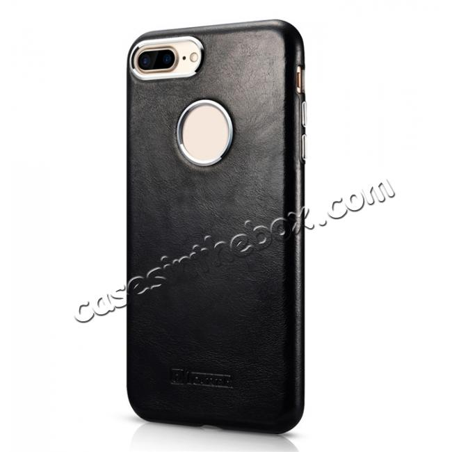 discount ICARER Vintage Real Genuine Leather Back Case Cover for iPhone 7 Plus 5.5 inch - Black