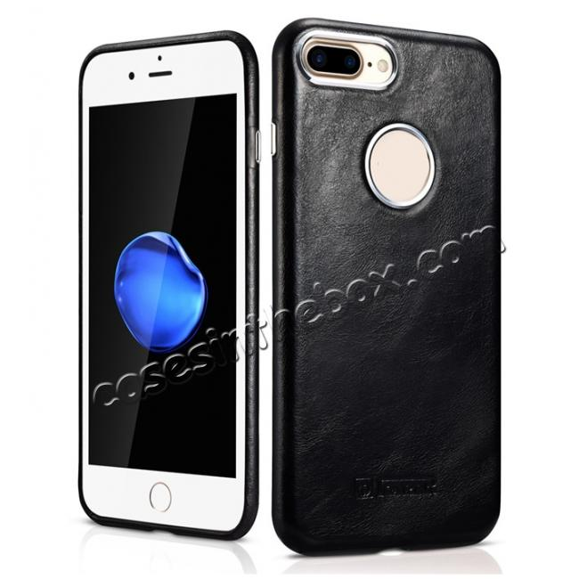 wholesale ICARER Vintage Real Genuine Leather Back Case Cover for iPhone 7 Plus 5.5 inch - Black