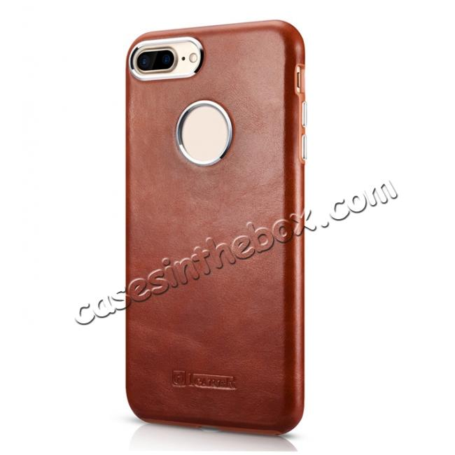discount ICARER Vintage Real Genuine Leather Back Case Cover for iPhone 7 Plus 5.5 inch - Brown