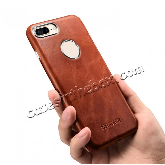 cheap ICARER Vintage Real Genuine Leather Back Case Cover for iPhone 7 Plus 5.5 inch - Brown