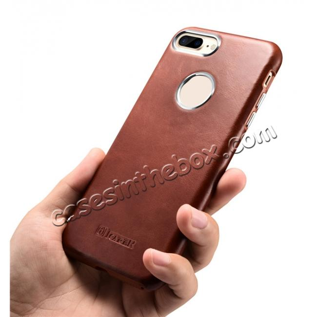 top quality ICARER Vintage Real Genuine Leather Back Case Cover for iPhone 7 Plus 5.5 inch - Brown
